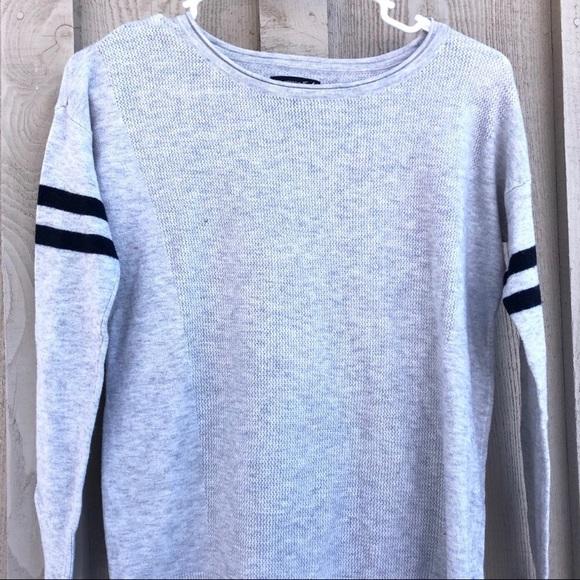 American Eagle Varsity Blue Line Gray Sweater!